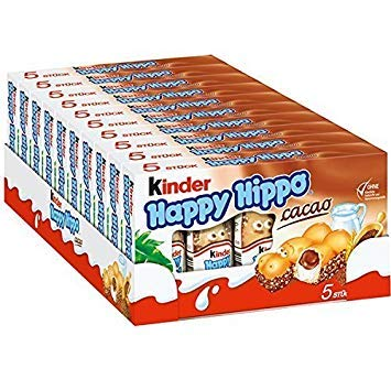 Kinder Happy Hippo CASE COCOA CREAM, 10 PACK With 5 Pieces - Sold by CANDYWORLD.USA by Kinder
