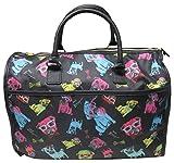 Betsey Johnson Large Nylon Weekender Duffel Bag, Black/Multi