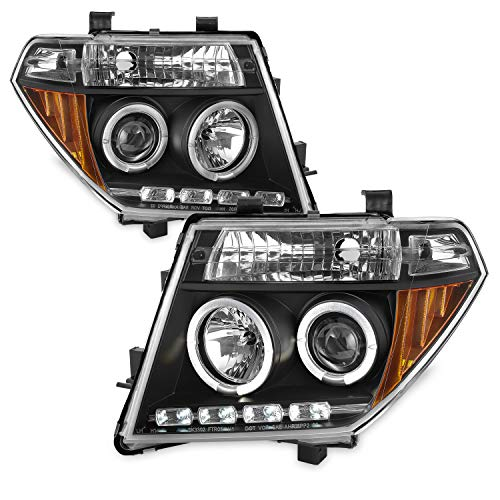 For 05-08 Frontier / 05-07 Pathfinder Black Bezel Dual Halo Ring Projector LED Headlights Driver Passenger Set ()