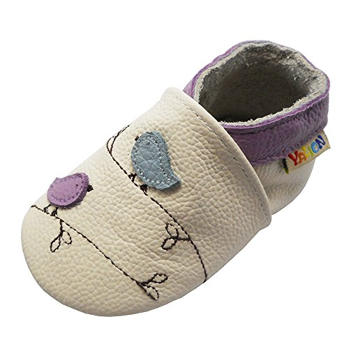 Yalion Soft Sole Leather Baby Shoes First Walking Cartoon Birds Toddler Infant Slippers(6-12 Months,White) ()