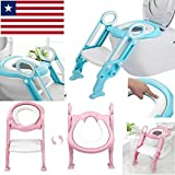 Potty Trainer Toilet Seat Chair Kids Toddler with Ladder Step Up Training Stool: more info