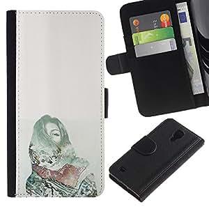 For Samsung Galaxy S4 IV I9500 Case , Pain Deep Dark Money Green - la tarjeta de Crédito Slots PU Funda de cuero Monedero caso cubierta de piel