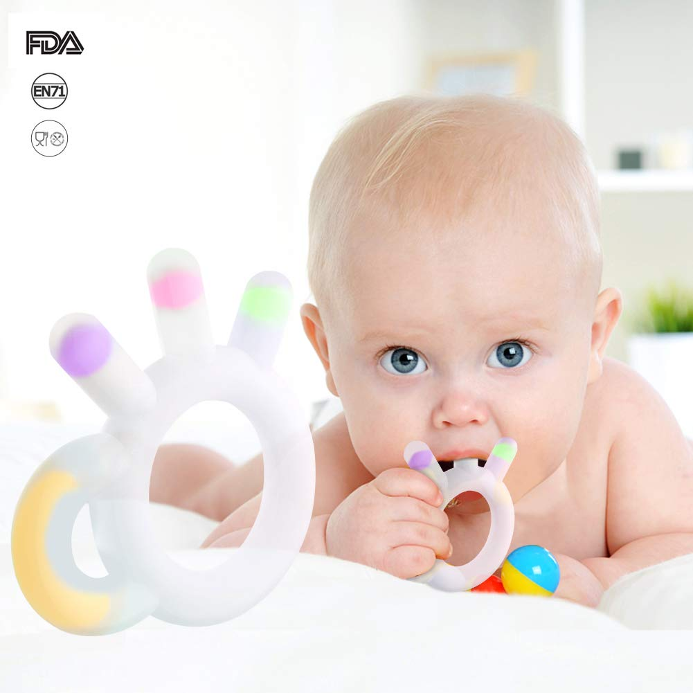 BPA /& Phthalates Free ASCENDAS Baby Silicone Chew Teething Toys Non-Toxic Includes Free Clip Holder Set Teethers /& Gum Massagers FDA Compliant Pink -Clip Holder