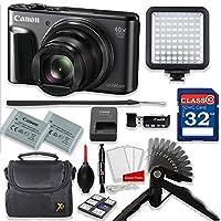 Canon PowerShot SX720 HS 20.3MP 40X Optical Zoom Digital Camera Video Creator Kit (Black)+ 32GB High Speed Memory Card + Steady Grip + LED Video Light + Extra Battery + Professional Accessory Bundle