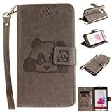 LG G3 Case, Solid Color 3D Panda Embossed PU Leather Stand Magnetic Closure Wallet Case Card Slots Flip Folio Protective Cover For LG G3 D852 Gray