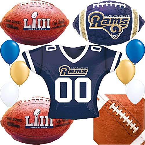 Super Bowl Los Angeles Rams Party Supplies : Dinner Plates, Bowls, and LA Rams Team NFL Football Sports Balloon Decorations ()