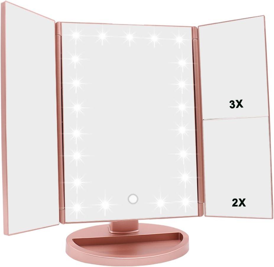 WEILY Espejo de vanidad Triple, 21 LED y Aumento 1X / 2X / 3X, Interruptor táctil para Ajustar el Brillo, Modo de Fuente de alimentación Dual Espejo de Maquillaje (Oro Rosa)