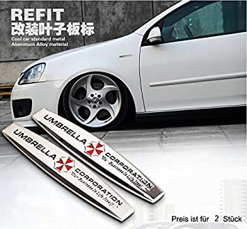2 Stk Umbrella Corporation Seite Emblem B100 Badge Auto Aufkleber 3d Car Sticker Metal Auto