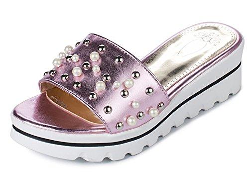 Aisun Damen Lack Kunstleder Offene Zehen Perlen Niete Durchgängig Plateau Pantoffeln Rosa