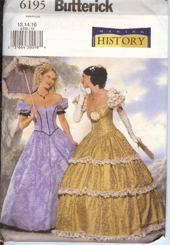 Butterick Sewing Pattern 6195 Civil War Era / Victorian Gown, Sizes 12-14-16