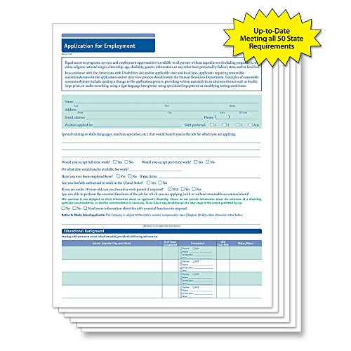 ComplyRight 50-State Compliant Job Application Short, 50 Pack