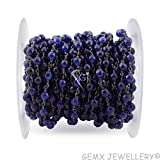 Gems-World Jewelry One Feet Beery Blue Jade, 6mm Round Shape Black Plated Wire Wrapped Rosary Chain/Beads Chain, (ARC-B45)