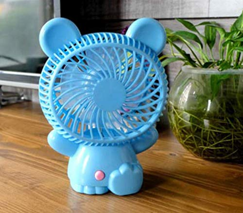 Huasen Cartoon Styling Fan USB Portable Fan Lovely Desk Handheld Fan-Blue