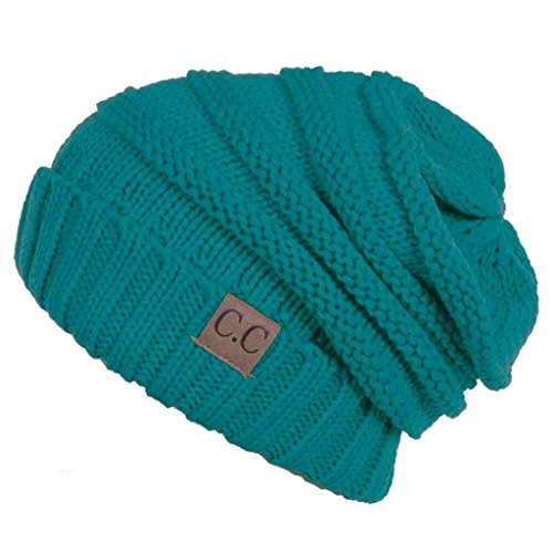 H-6100-46 Funky Junque Oversized Slouchy Beanie - Teal (Crochet Cable Hat)