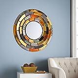 Harper Blvd Baxter Decorative Round Mirror with Multicolored Tiered Edges