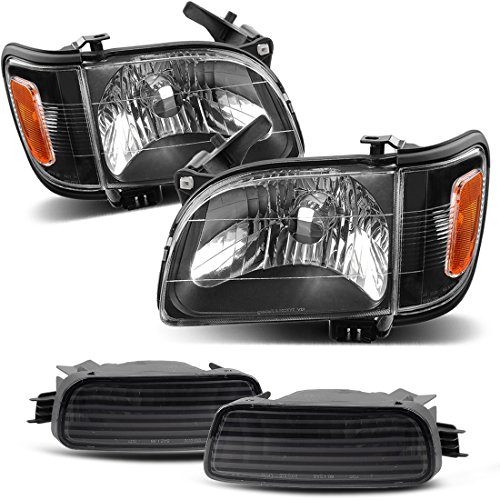 For 2001-2004 Toyota Tacoma Pickup Truck Replacement Headlights Black Housing with Amber Reflector Clear Lens + Bumper Lights (Driver and Passenger Side)