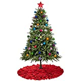 48 Inches Red Burlap Ruffled Xmas Christmas Tree Skirt - Holiday Decoration for Gift Giving by Rorgio