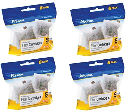 Aqueon Filter Cartridge, Small, 24-Pack (4 Packages with 6 Filters -