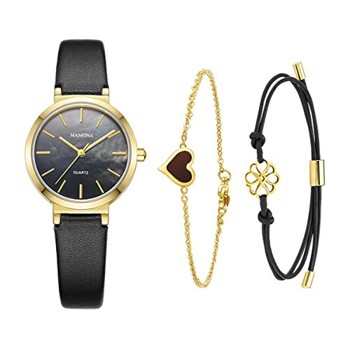 MAMONA Ladies Quartz Watch Bracelet Gift Set Black Leather Band Gold Stainless Steel Case Watch for Women L3876BKGTS