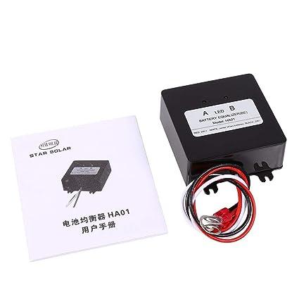 FTVOGUE batería Equalizer equilibrador Sistema Solar 2 × 12 V para baterías de Plomo Balancer Cargador para Gel inondazione AGM batería Plomo