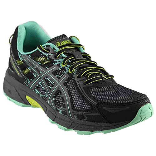 ASICS Womens Venture 6 Running Sneaker, Black/Carbon/Neon Lime, Size 12 Wide