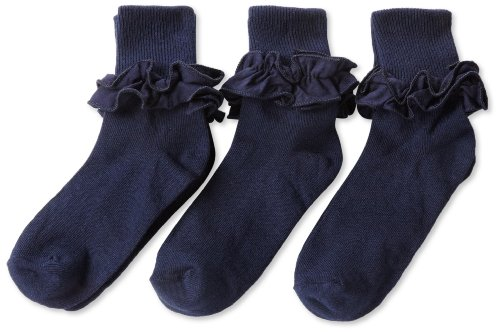 Ruffle Blue Girls Dress (Jefferies Socks Big Girls'  Misty Ruffle Turn Cuff Socks  (Pack of 3), Navy, Medium)