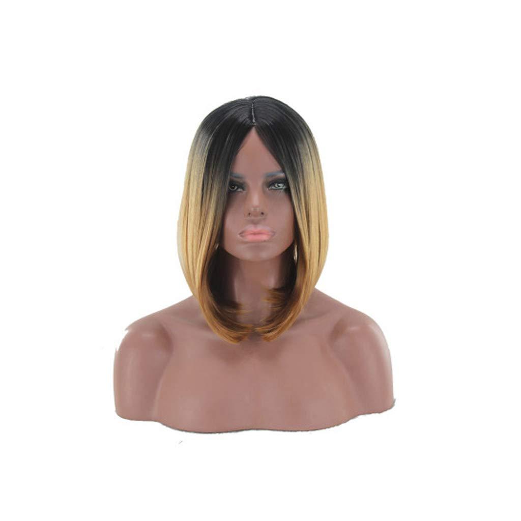 QqHAO L'Europa e Gli Stati Uniti Tinto Gradiente Parrucca Marrone Mezzo Parrucca Capelli Corti Riparazione Viso Femmina