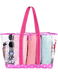 VENO Beach Bag Clear PVC Tote Water Resistant Inside Pocket for Pool GYM Stadium (Pink)