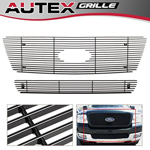 (AUTEX Black Horizontal Billet Grille Grill Insert Combo Compatible With Ford F150 2004-2005 F67994H (Not Compatible With FX2/ FX4/ King) )