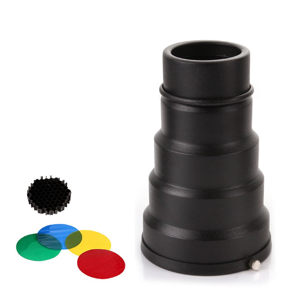 Run Shuangyu Universal Photo Studio Strobe Flash Snoot+Honeycomb Grid+5 Color Gel Filter KIT