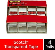 Scotch Transparent Tape, Versatile, Clear Finish, Engineered for Office and Home Use, 3/4 x 850 Inches, 4 Disp