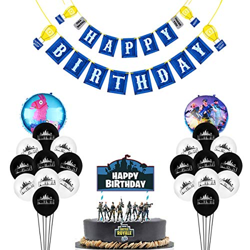 Video Game Party Supplies - 20 Latex Party Balloons and 2 Foil Balloons,32 DIY Bullet Hole Stickers, Video Game birthday Banner and Birthday Cake Topper for Kids Battle Royale Gamer Decorations