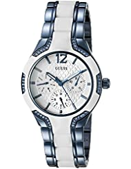 GUESS Womens U0556L9 Sporty Blue Watch with White Dial , Crystal-Accented Bezel and White Center Link Pilot Buckle