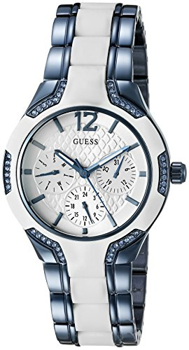 GUESS Women's U0556L9 Sporty Blue Watch with White Dial , Crystal-Accented Bezel and White Center Link Pilot - Ladies White Guess Dial