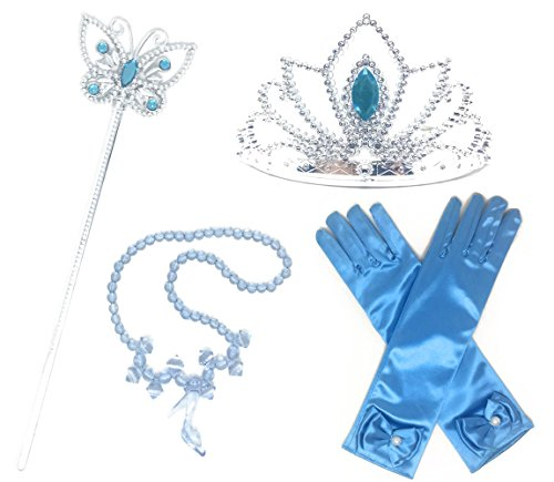 Princess Cinderella Dress up Party 4-Piece Accessories Gift Set (Cinderella Blue)