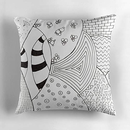 Rdkekxoel semi Circles with zendoodle Patterns Custom Throw Pillow Cushion Cover, Decorative Square Accent Pillow Case Cover, Square 18 X 18 inches, Multicolor