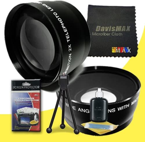 2x Telephoto Lenses for Sony Alpha SLT-A57 with Sony 55-200mm DT Lens 55mm Wide Angle DavisMAX Fibercloth Deluxe Lens Bundle