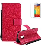 Funyye Strap Magnetic Flip Cover for Samsung Galaxy A8 2018,Premium Red Embossed Sunflower Pattern Folio Wallet Case with Stand Credit Card Holder Slots Case for Samsung Galaxy A8 2018,Shockproof Ultra Thin Slim Fit Full Body PU Leather Case for Samsung Galaxy A8 2018 + 1 x Free Screen Protector