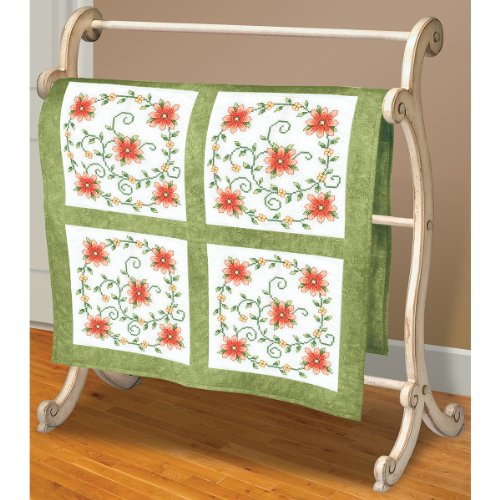 Flowers Art Quilt (Janlynn 21-1488 Swirl Of Flowers Quilt Blocks Stamped Cross Stitch, 18 x 18-Inch, 6-Pack)