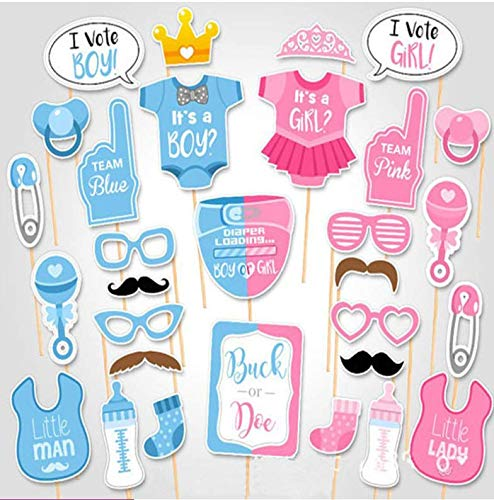 (Baby Photo Booth Props Gender Reveal Party Boy or Girl Shower Birthday Party)