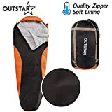 sleeping bag - OUTSTAR Lightweight Waterproof Mummy Sleeping Bag With Compression Sack for Kids or Adults Outdoor Camping, Travelling, Hiking & Backpacking (Dark Grey & Red / Left Zip)