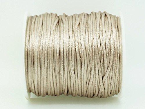 TAN 1mm Bugtail Satin Cord Shamballa Macrame Beading Nylon Kumihimo String (210ft Spool)
