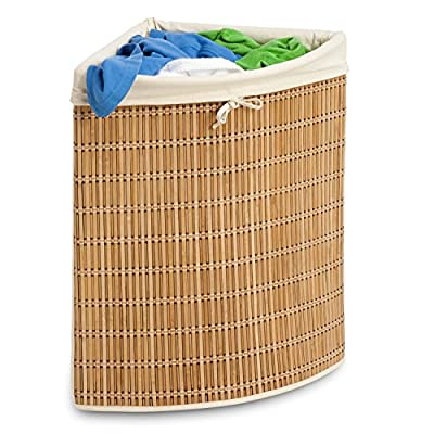 Honey-Can-Do HMP-01618 Wicker Corner Hamper, Clothes Organizer - Durable Steel Frame, Withstands Heavy Use Breathable Material, Natural Wicker Weave Washing Convenience, Removable Canvas Laundry Bag - laundry-room, hampers-baskets, entryway-laundry-room - 51X5kecj%2BkL. SS400  -