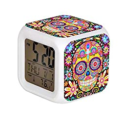 LED Alarm Colock 7 Colors Changing Digital Desk Gadget Digital Alarm Thermometer Night Glowing Cube led Clock Home Children's Sugar Skull - Day of The Dead Art