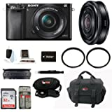 Sony Alpha A6000 Mirrorless Digital Camera with 16-50mm Lens (Black) + Sony SEL-20F28 E-Mount 20mm F2.8 Prime Lens + 32GB Memory Card + Camera Gadget Bag + Deluxe Accessory Kit