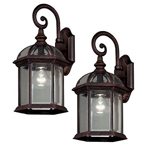 1 Light Outdoor Lantern (Hampton Bay 7072-2RT Twin Pack 1-Light Weathered Bronze Outdoor Lantern)