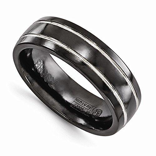 Edward Mirell Black Titanium with Grey Grooves 7mm Wedding Band - Size 12 by Edward Mirell