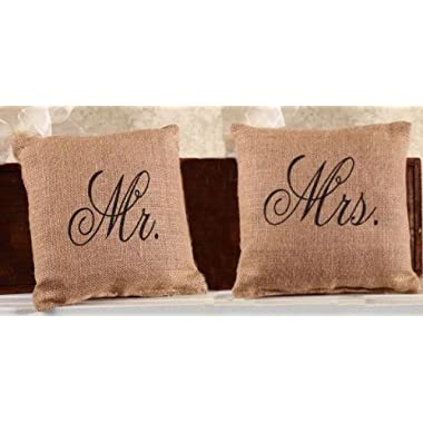 Mr. and Mrs. French Flea Market Burlap Accent Throw Pillow Set - 8-in x 8-in each