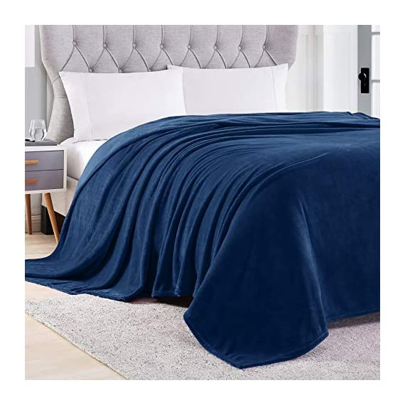 EXQ Home Fleece Blanket Navy Throw Blanket for Couch or Bed - Microfiber Fuzzy Flannel Blanket for Adults or Kids - All weather blanket! EXQ Home winter throw blankets are made of 260 GSM microfiber that can bring warmth and comfortable whether you're on the couch watching TV or reading in bed.(Measures:50 x 60 inches) Irreplaceable Choice! Are you disappointed that you have bought a shedding or pilling blanket?Do you think some blankets are too expensive?Fortunately,you have found us.EXQ Home flannel blanket have exquisite craftsmanship.We refuse to provide inferior products to customers. Perfect Gift! If you are searching for gifts.Our fuzzy blanket can satisfy you.It can be used for travel ,office or bedroom.The babys, adults or pets all will love it.Who would not like a furry blanket? - blankets-throws, bedroom-sheets-comforters, bedroom - 51X5lklAJ9L. SS570  -