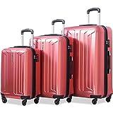 Flieks Luggage 3 Piece Sets Spinner Suitcase with TSA Lock, Lightweight 20 24 28 (Red)